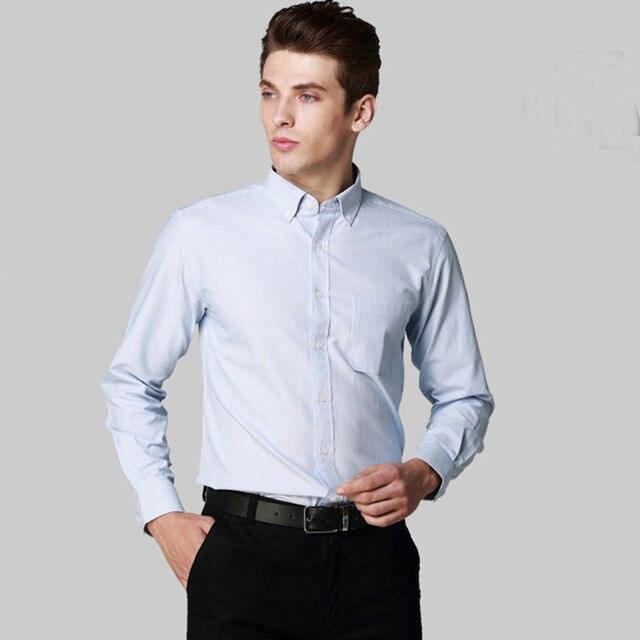 Новый 2016 Осень Мужчины Рубашка Классическая Fit Марка Мужчины Бизнес Случайный Полоса Рубашка Clothing Моды С Длинным Рукавом Социальный Рубашка