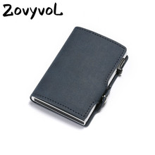 ZOVYVOL 2019 New Men Business Credit Card Holder PU Leather Metal RFID Double Aluminium Box Travel Wallet WOMEN