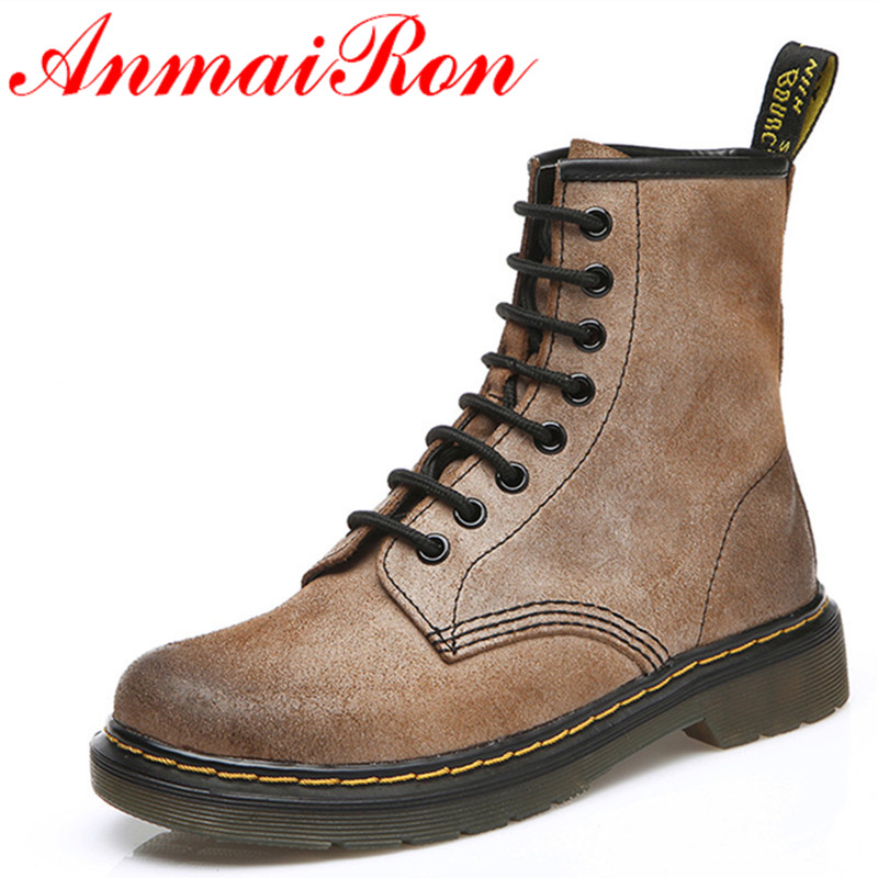ФОТО ANMAIRON New Autumn Winter Lace-up High-top Shoes Woman Low Heel Platform Ankle Boots Unisex Martin Boots Large Size 34-43