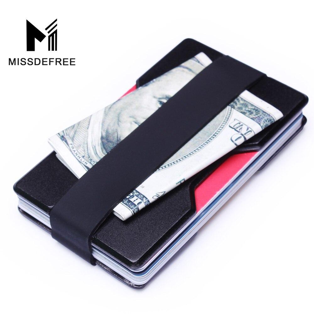 Aluminum RFID Blocking Mini Slim Wallet Money Clip Metal Business ...