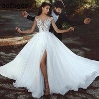 2019 Sexy Beach V neck Elegant Chiffon Illusion Bridal Gown Wedding Dresses Vestidos de Noivas Custom White Ivory High Slit