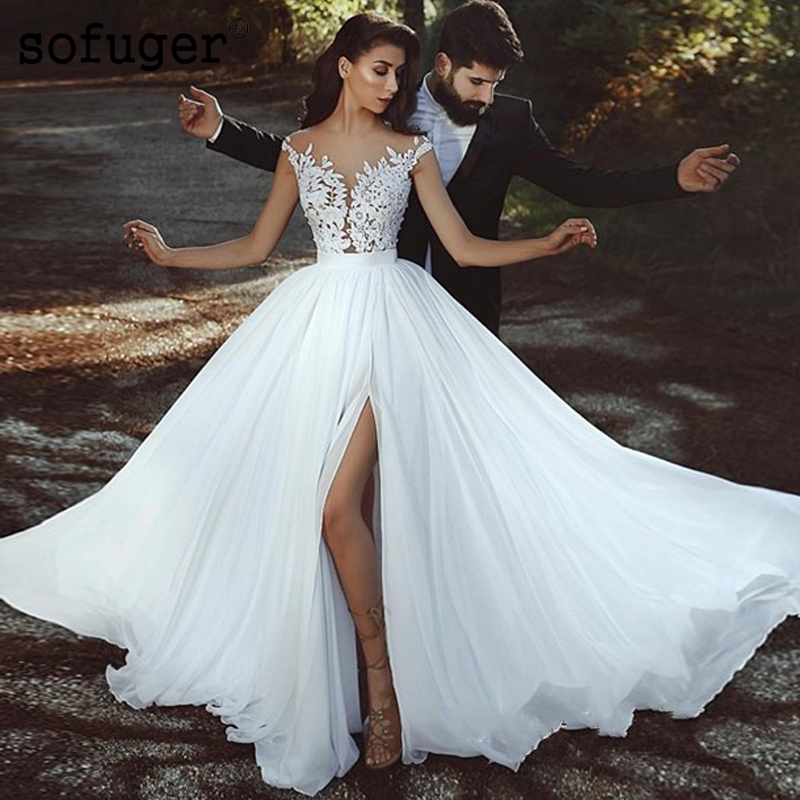 White Sexy Beach V-neck Wedding Dresses Elegant Chiffon Illusion Bridal Gown Vestidos De Noivas Custom Made High Slit