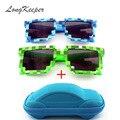 LongKeeper Vintage Novedad Plaza Pixel Mosaico Gafas de Sol Unisex gafas de Sol de Moda Minecraft Gafas Con Caja de Regalo de Los Niños