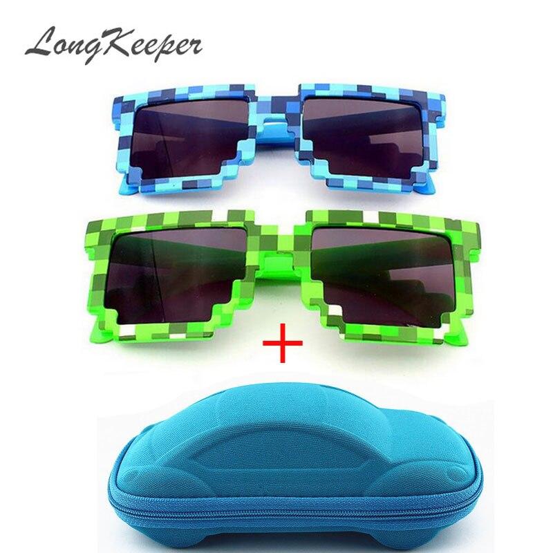 LongKeeper Vintage Square Novelty Mosaic Sun Glasses Unisex Pixel Sunglasses Trendy font b Minecraft b font