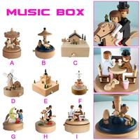 9 Type Wooden Music Box Crafts Creative Gifts Musical Carousel Ferris Wheel Music Box For Birthday Gift Home Navidad Decorations