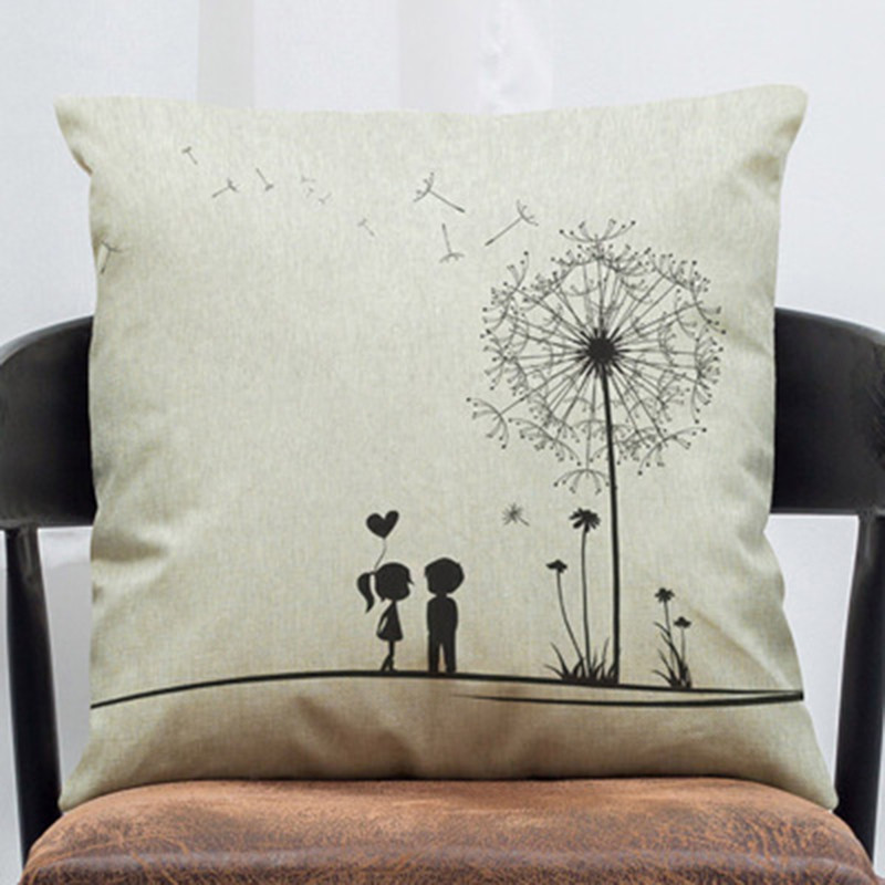 Dandelion Cushion Cover Free Fly boys and girls heart Moral Throw Pillow Cover Cotton Linen Decorative Cushion Cover for Sofa