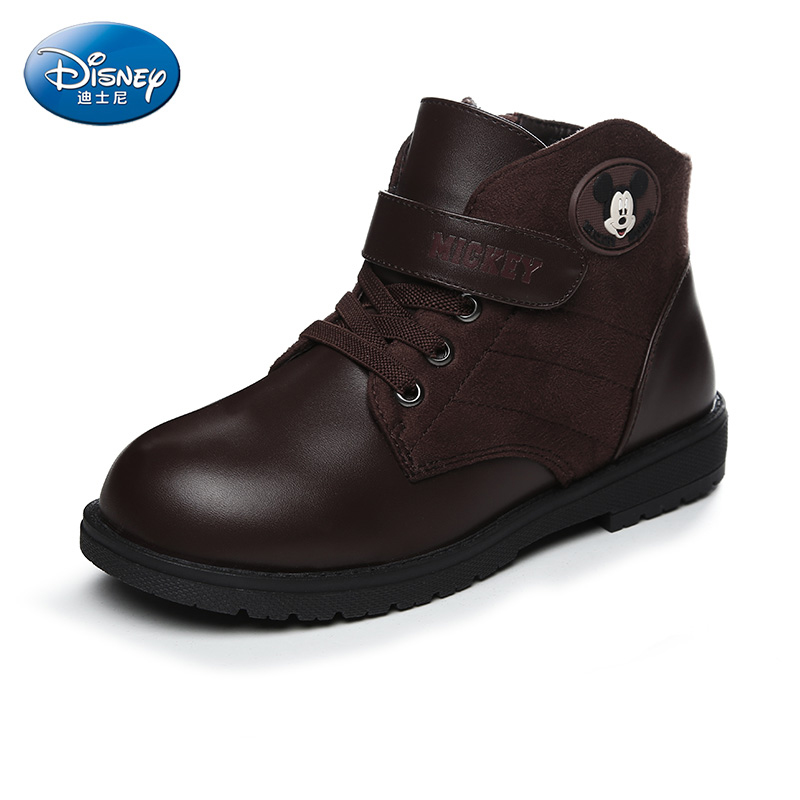 Disney Boy Boots Winter  Rubber Snow Ankle Boot Kids Shoes Warm Thick Plush Male  Black Leather Boy Shoes DS2319 30 degree pu winter warm plush shoes fashion children s thick shoes girls high snow boot martin boots for kids accessories