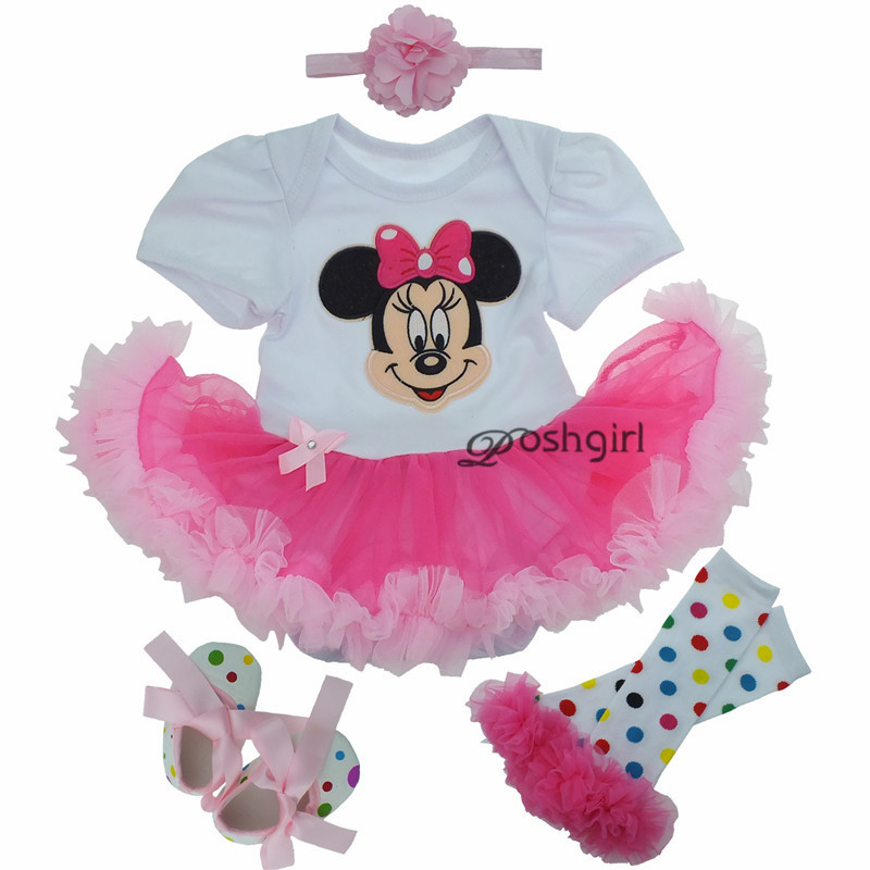 Cartoon Minnie Mickey Clothing Set Newborn Gift Baby Girls Outfit Clothes Suits Set Romper Tutu Dress Girl Dreses for Party Kids 4pcs set baby girls clothing newborn baby clothes christmas infant jumpsuit clothes xmas bebe suits toddler romper tutu dresses