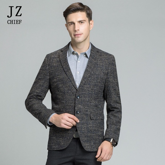 Us 64 0 50 Off Jz Chief Blue Striped Jacket Men Tweed Blazer Cotton Single Breasted Two Button Business Blazer Suit For Wedding Groom Slim Fit In
