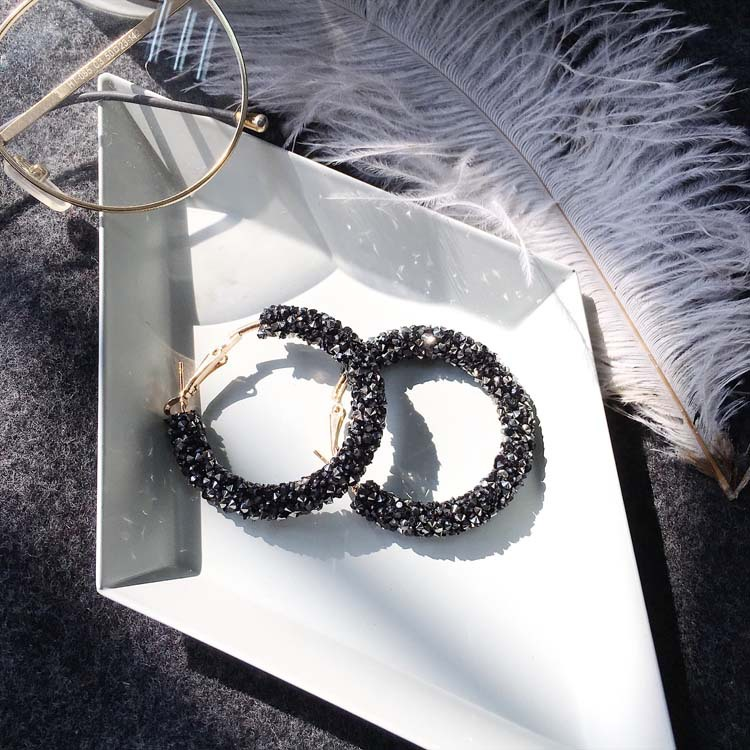 Luxury Elegant Round Shiny Rhinestone Gold Drop Earrings for Women Party Fashion Classic Crystal Big Earring Jewelry Gift