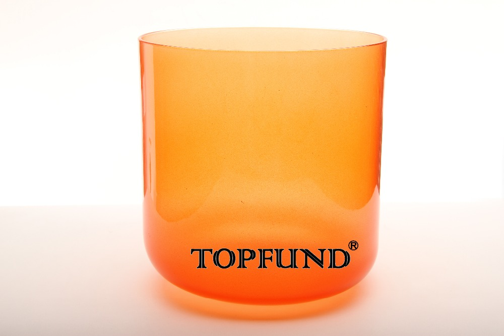 TOPFUND Orange Colored Clear D# Sexual  Adrenals Chakra Quartz Crystal Singing Bowl 6'' With Free Mallet and O-Ring orange box with cs1 6