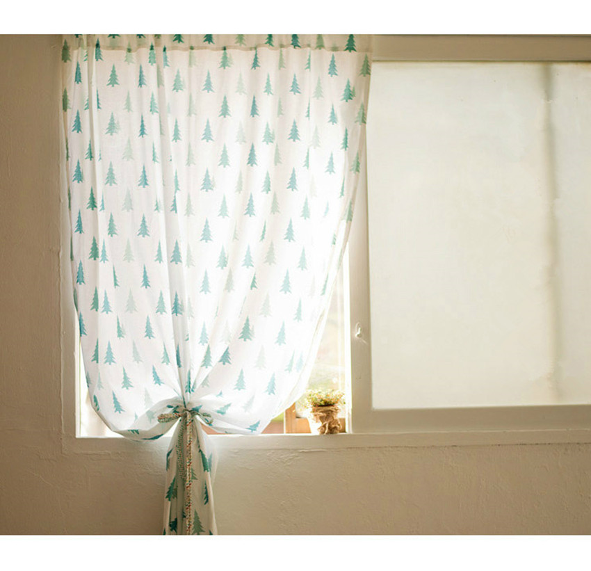 japanese style cartoon green pine tree geomancy curtain decorative curtain