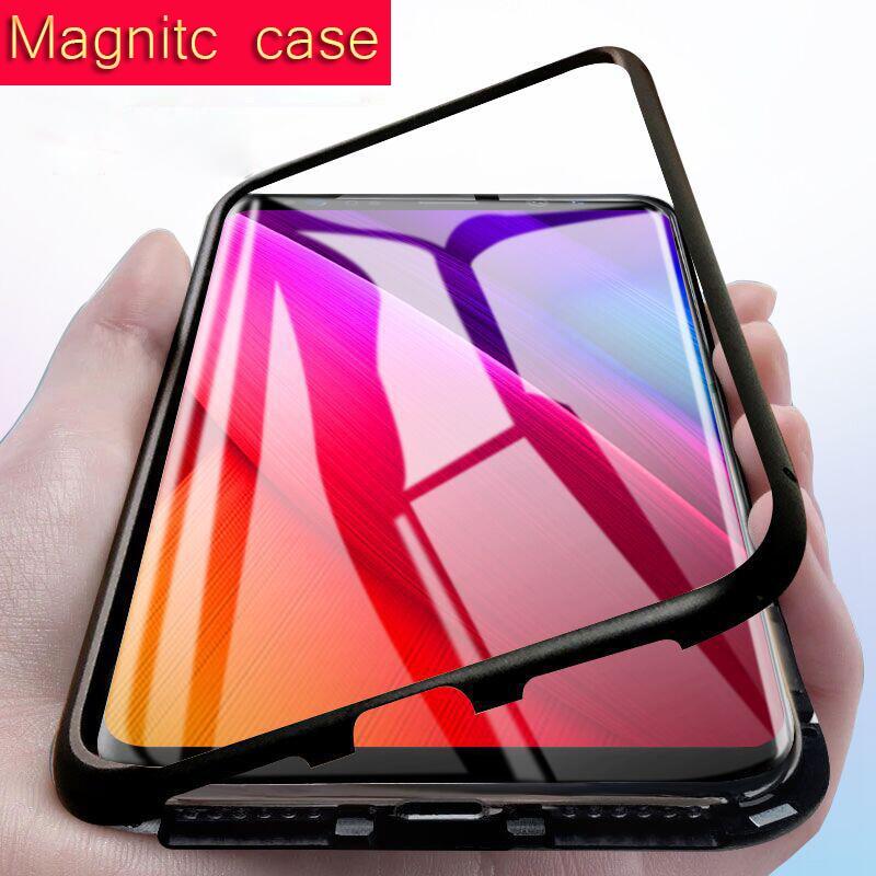 Caso Ímã do Metal no vidro traseiro para Samsung Galaxy S8 S9 Plus nota 8 Caso Magnetic para Huawei P20 lite pro companheiro 10 pro casos honor 10