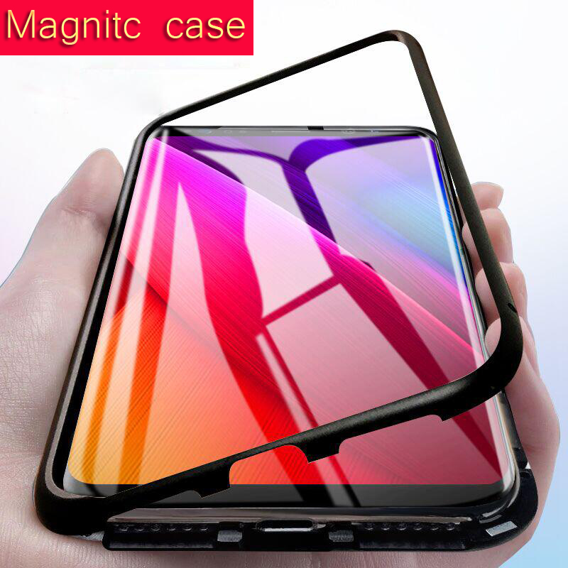 Metal bumper Magnet Case for Samsung Galaxy S8 S9 Plus note 8 Magnetic Case for Huawei P20 lite pro mate 10 pro honor 10 cases