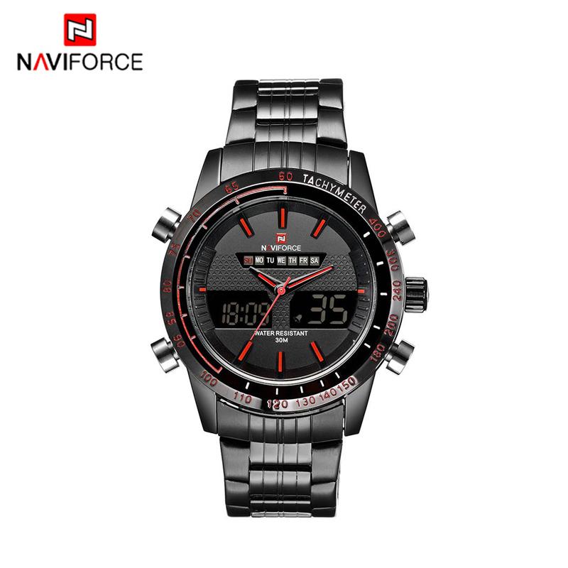Prix pour Naviforce hommes sport montre hommes inoxydable plein acier à quartz numérique led hommes montre étanche sport montre-bracelet relojes hombre