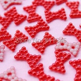 219923cec0cdf 100 sztuk 9*12mm Czerwony Bowknot ABS Imitacją Perły Koraliki Fit Telefon  komórkowy Deco DIY Nail art Akcesoria