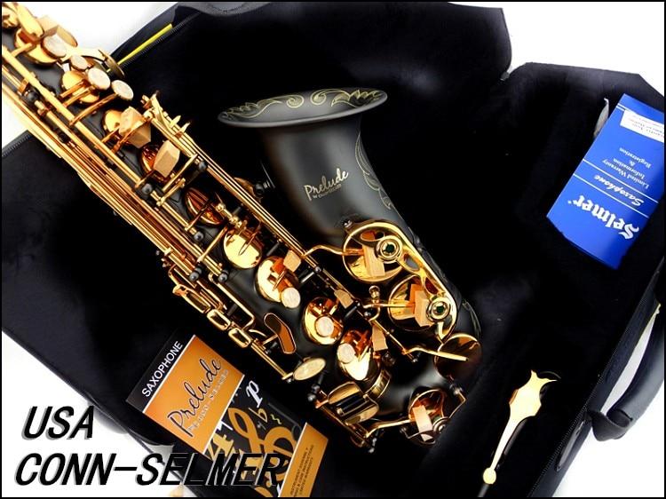 New 2017 Senior French Brand Conn Selmer Black Lacquer Alto Saxophone E AS-710 Matt encarved Alto Sax with Mouthpiece alto mick dual shoe bag black