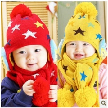 BH40 Free Shipping Kids Boys Girls Crochet Winter Warm Beanie Five Pointed Star Baby Hat Earflap Protection Scarf+Cap 2pc