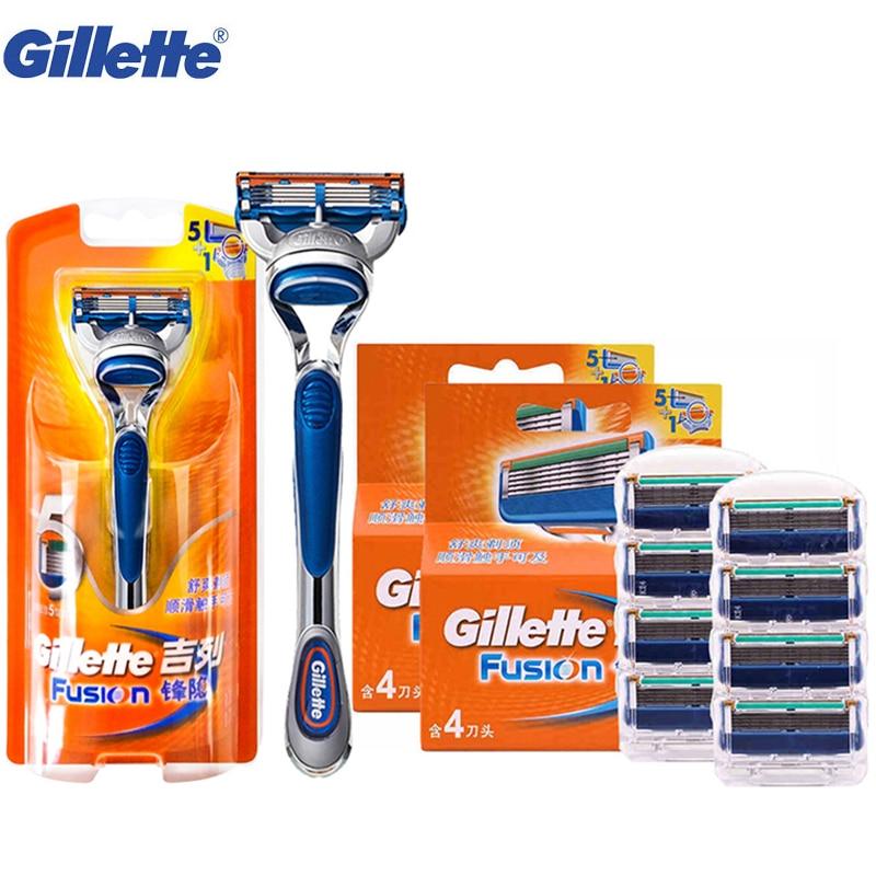 купить Gillette Fusion Shaving Razor Blades for Men Shave Shaver Blades Washable Cuchillas afeitadoras 1 Razor Handle 9 Blades недорого