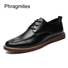 Купить с кэшбэком Phragmites summer breathable plus size men shoes fashion genuine leather dress shoes formal shoes men black sapatos flats