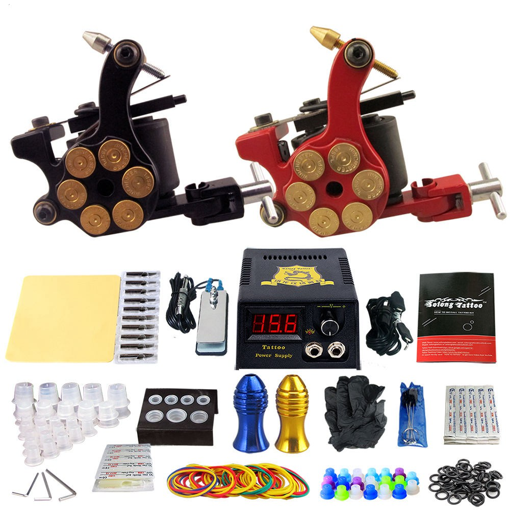 Solong Tattoo Pro Tattoo Kit 2 Rorary Tattoo Machine Gun Power Supply 1 Practice Skin Dual-sided Re-usable One Set TK202-18 re egret one page 2