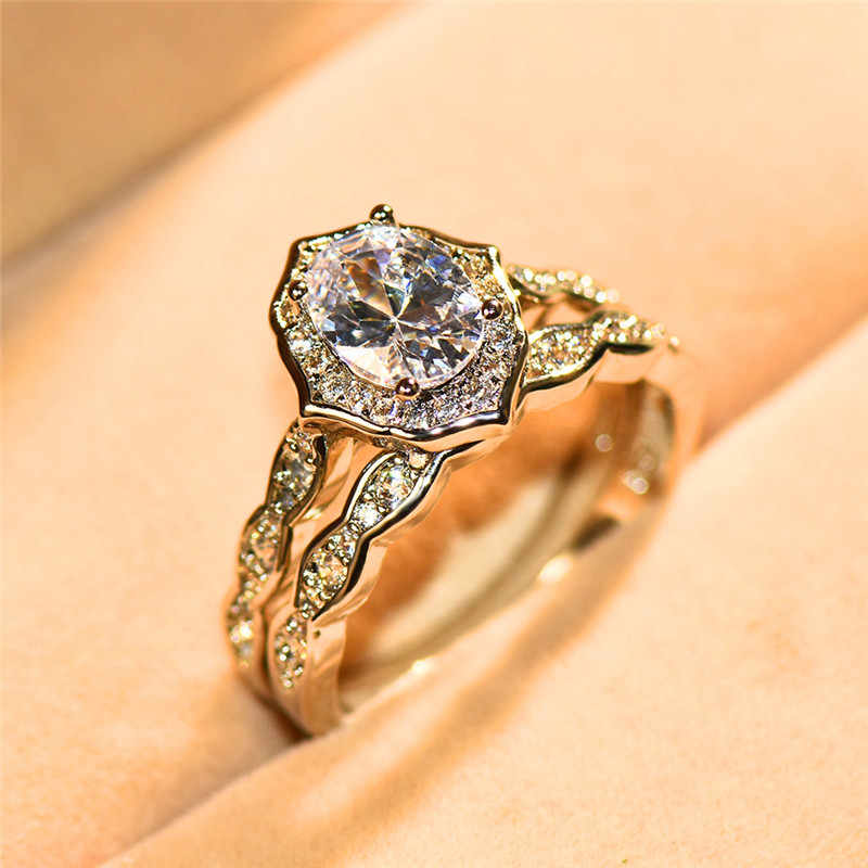 Luxo Feminino Grande Oval Conjunto Anel de Cor Prata Moda Nupcial do Casamento de Cristal de Zircão Anel de Noivado Promessa Anéis Para As Mulheres
