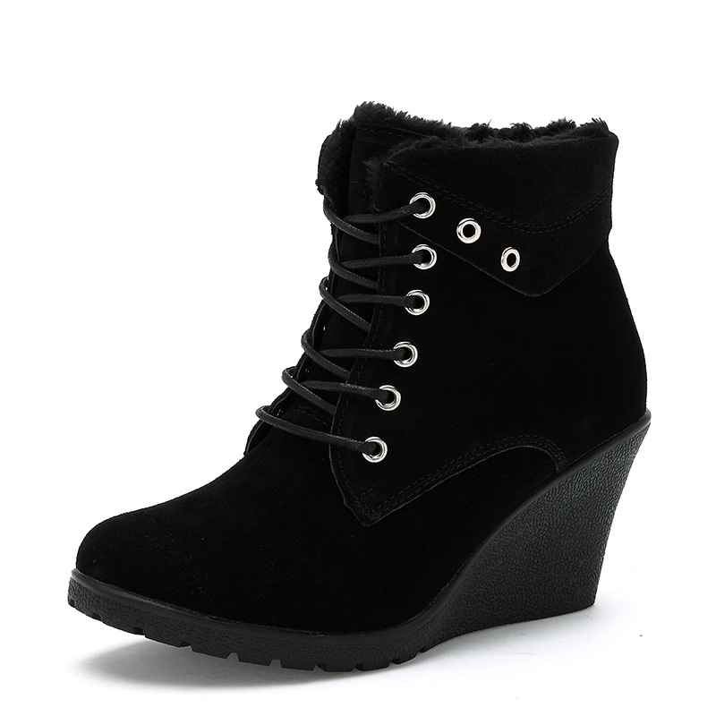 Stivali Zeppe Boots Donna Nero Brown Alti Genuino Delle Tacchi Lace Brown Il Caviglia light Snow Invernali Scarpe Moda Alla Pelle In Warm 2017 up Donne dark qwFqrC