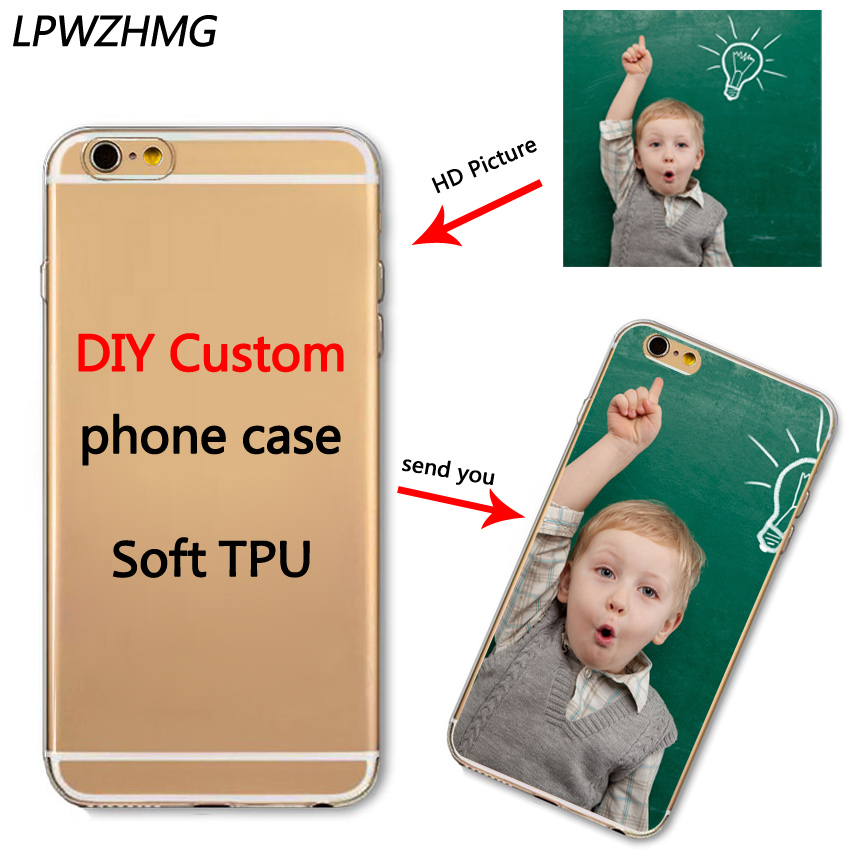 size 40 b9d51 dad24 50pcs Wholesale Custom Design Cell Phone Case for iphone 7 6 6S Printed DIY  Logo Soft Silicon Transparent TPU Mobile Phone Cases-in Fitted Cases from  ...