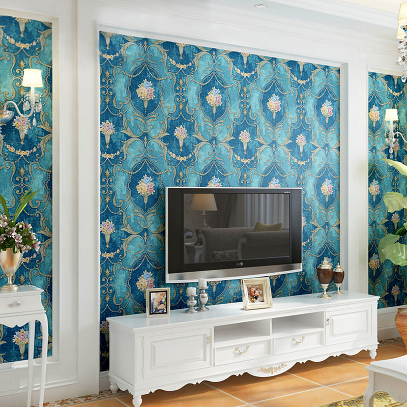 Pastoral Damask Blue Flowers Non-woven Wallpaper Roll Luxury European Style 3D Living Room Bedroom TV Background Decor Wallpaper blue european style 3d stereoscopic relief damask tv background wall paper flower luxury bedroom living room non woven wallpaper