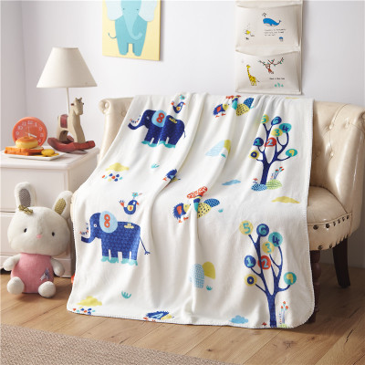 Blue Pink Fish Cactus Watermelon Elephant Printed Flannel Blanket Fabric Baby Kid Bed Plaids Sofa Cover for Travel/Car Bedspread