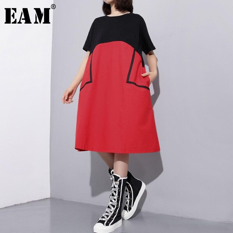 [EAM]2018 New Summer Round Neck Short Sleeve Irregular Hit Color Big Pocket Split Joint Big Size Dress Women Fashion Tide JF888