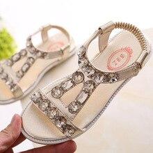 New 2018 Summer Children's Kids Girls Rhinestone Sandals For Gold Silver Teens Girls Schoo