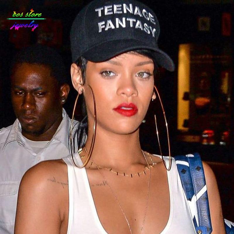 10 размер! Летні стыль Rihanna знакамітасці ювелірныя вырабы золата круг Вялікія завушніцы Плюс Вялікія завушніцы Хооп Буйнагабарытныя сабе завушніцы