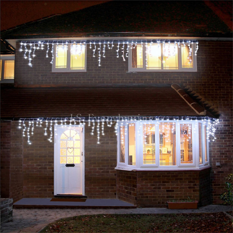 1x Christmas Lights Outdoor Decoration 5m Droop 0.4 0.6m Led Curtain Icicle String Lights New Year Wedding Party Garland Light