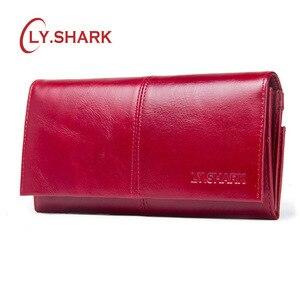 LY.SHARK женский кошелек с держателем для карт, женские кошельки, кошелек из натуральной кожи, женский клатч для денег, кошелек на молнии с красн...