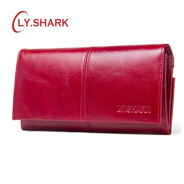 LY.SHARK Woman Wallet Card Holder Female Coin Purses Genuine Leather Wallet Female Money Clutch Bag Red Lang Wallet Zipper