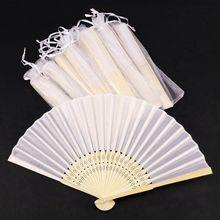 Gorąca sprzedaż 24 sztuk/partia biały składany elegancki jedwabny wentylator z torbą na prezenty ślubne i Party 21cm