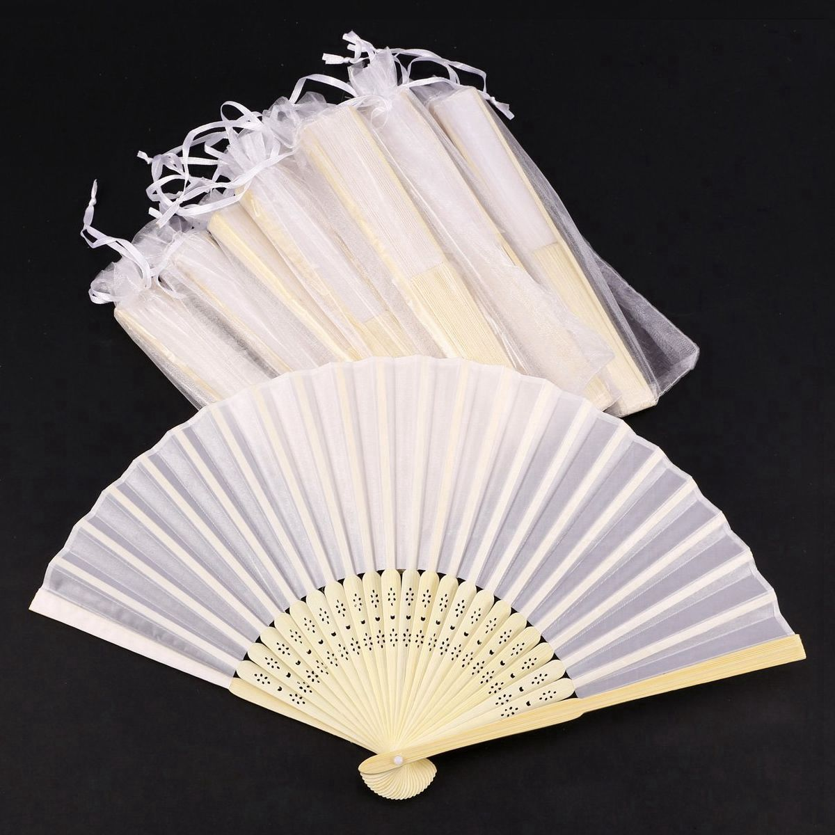 Hot Sale 24 Pcs/lot White Folding Elegant Silk Hand Fan With Gift Bag Wedding & Party 21cm