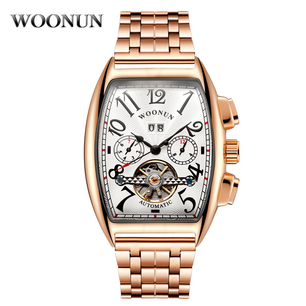 New Tonneau Automatic Mechanical Tourbillon Watch Men Luxury Waterproof Mechanical Watches Stainless Steel Rose Gold Men Watch 2017 new jsdun luxury brand automatic mechanical watch ladies rose gold watches stainless steel ladies tourbillon wrist watch