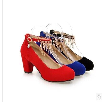 Redonda Palabra Primavera 2016 De Con azul Solo rojo Negro Última Colgante Princesa Dulce Gruesa Zapatos La Cabeza Femenina Los Hebilla Rhinestone t8wZASpwq