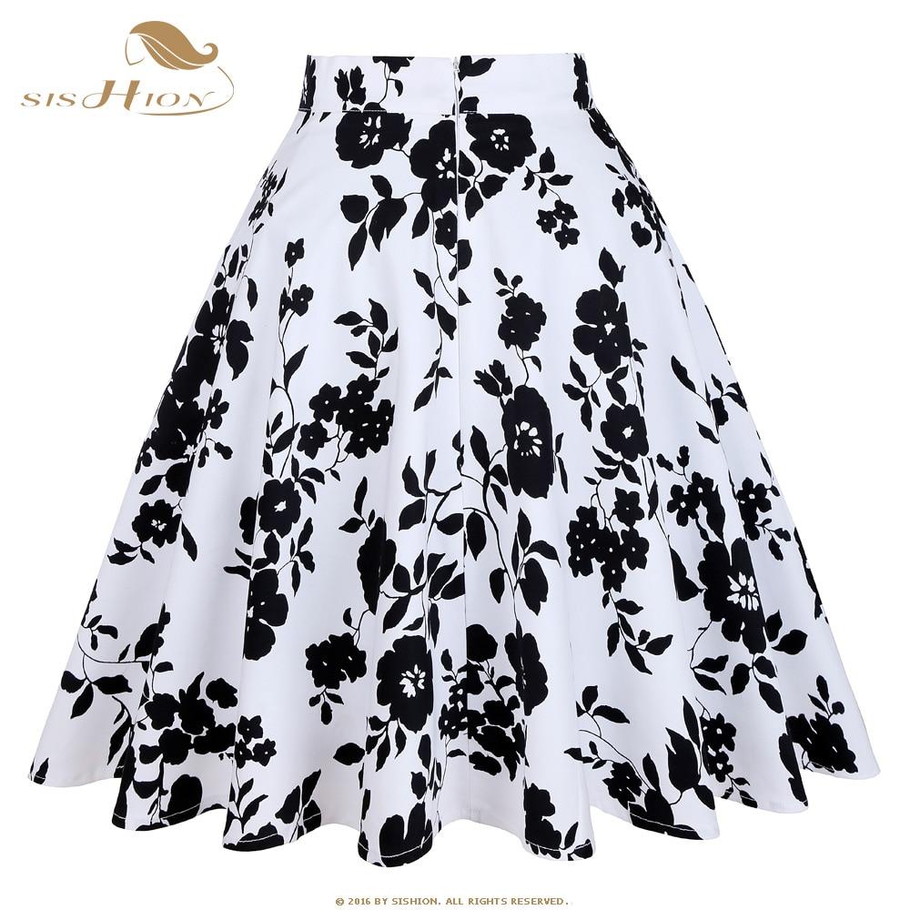 619a800e6e SISHION Vintage Retro Flower Black and White Floral Print High Waist Midi  Skirts Knee Length Saia Feminina Ladies Summer Skirt-in Skirts from Women's  ...