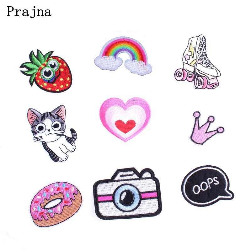 Prajna кошка камера Корона фрукты радуга патч дети мультфильм железо на дешевые вышитые аппликации милые патчи для аппликация на одежду