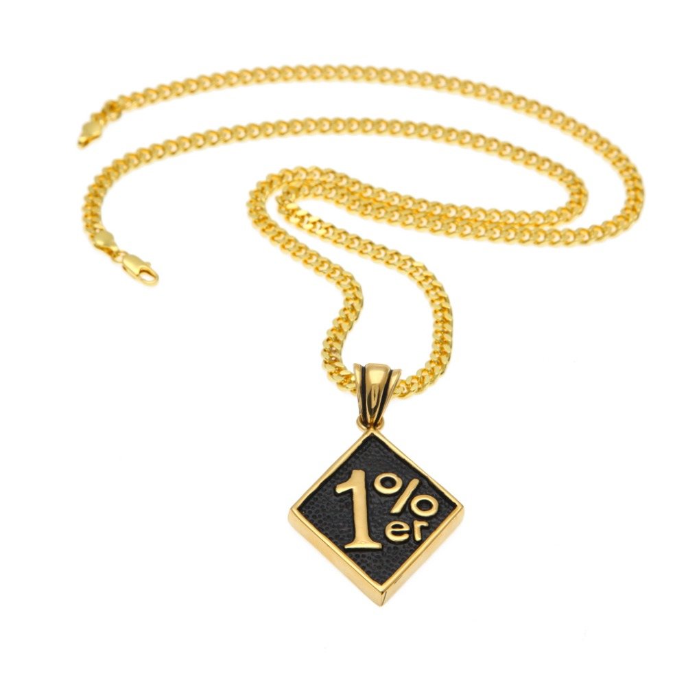 MCSAYS Mens Jewelry Pendant Necklace HipHop Square Card 1%er St.Steel Copper Chain Gold Color For Men Gifts 4GM