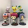 6Pcs/set Pokemon Go Japanese Anime Pocket Monsters keychain Pikachu Team Rockets James Meowth Jesse Figure Charms For Chriamas