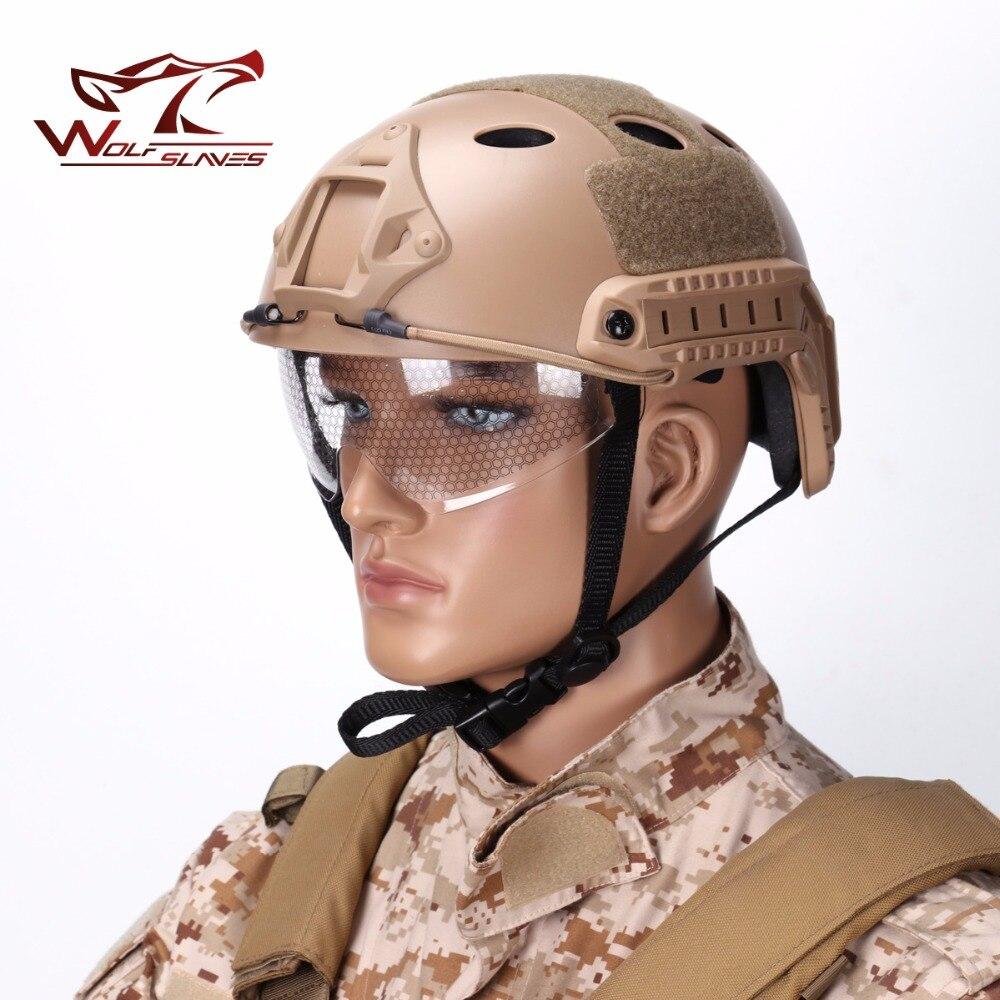 Cyclisme en plein air Airsoft tactique Paintball casque rapide PJ Type w lunettes de protection visière rétractable NVG linceul Rail latéral