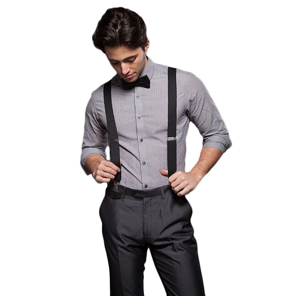 Womens Y Style Suspenders Adjustable Elastic Braces Black 2-Pack