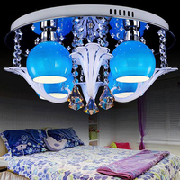 modern crystal LED lamp ceiling lamp LED crystal Ceiling Lights boy girl room bedroom lighting warm blue purple pink