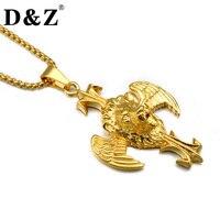 D Z Punk Gold Silver Color 316L Titanium Stainless Steel Wing Lion Pendants Necklaces For Men