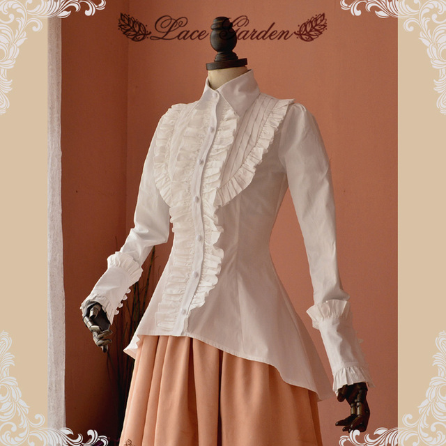 8c38534be9a High Quality Spring Women White Shirt Ruffled Vintage Victorian Shirts  Ladies Gothic Swallowtail Blouse Lolita Costume
