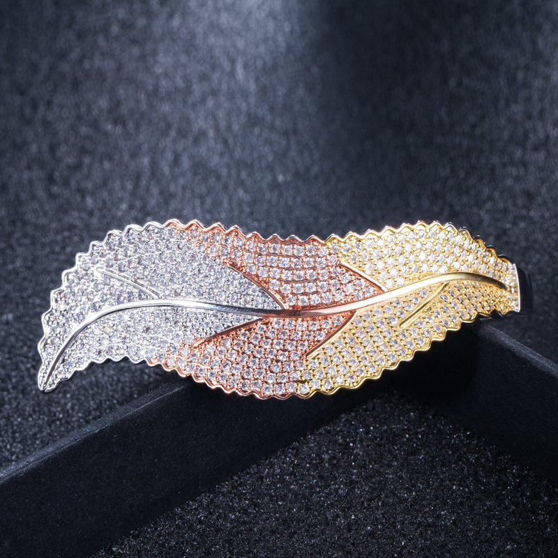 CWWZircons 3 Tones Silver and Rose Gold Color Leaf Shape Big Micro Pave Cubic Zirconia Luxury Open Cuff Bangle for Women BG016 HTB1aeo7XjzuK1RjSspeq6ziHVXas
